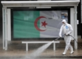 (200320) -- ALGIERS, March 20, 2020 (Xinhua) -- A worker disinfects a street in central Algiers, Algeria, on March 20, 2020. Algeria reported a new death from COVID-19 on Friday, bringing the death toll in the country to 12, the health department in eastern Algeria's Khenchela province said in a statement. Algerian health authorities specified that out of the 90 confirmed cases, 42 patients were healed and discharged from hospital, temporarily. (Xinhua) (MaxPPP TagID: xnaphotostwo200321.jpg) [Photo via MaxPPP]